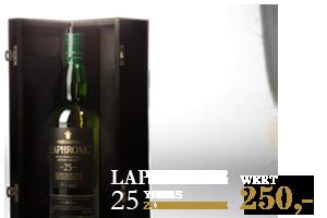 Gewinne einen Laphroaig 25 Years Islay Single Malt Scotch Whisky im Wert von 250 Euro