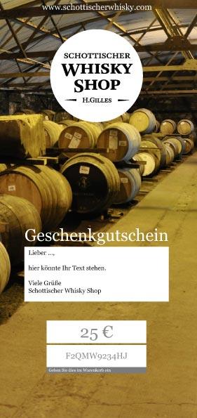 Geschenkgutschein mit Whiskyfässern und Freitext