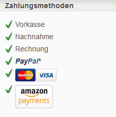 Zahlungsmethoden: Vorkasse, Nachnahme, Rechnung, PayPal, Mastercard, Visa, Amazon-Payment