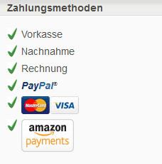 Zahlungsmethoden: Vorkasse, Nachnahme, Rechnung, PayPal, Mastercard, Visa, Amazon-Payment